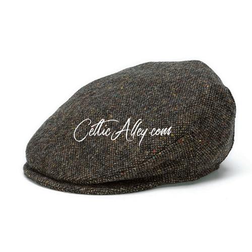 Hanna Hats of Donegal Tweed Vintage Cap in BROWN Salt & Pepper HandMade in Ireland