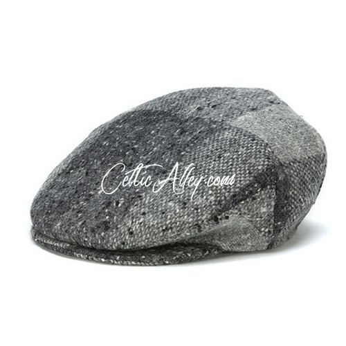 Hanna Hats of Donegal Tweed Vintage Cap in GREY Heather HandMade in Ireland