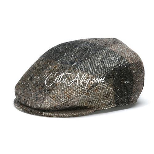 Hanna Hats of  Donegal Tweed Vintage Cap in BROWN Heather HandMade in Ireland