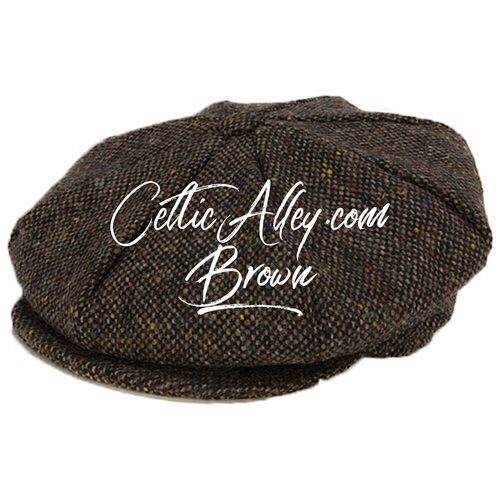 Hanna Hat Donegal IRISH Tweed 8 Piece Peaky Blinders Style Cap in BROWN HandMade in Ireland