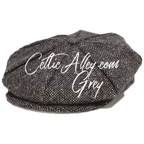 Hanna Hat Donegal IRISH Tweed 8 Piece Peaky Blinders Style Cap in GREY  HandMade in Ireland