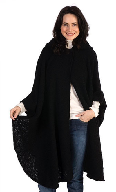 Tara Hooded Cape in Black Made in Ireland