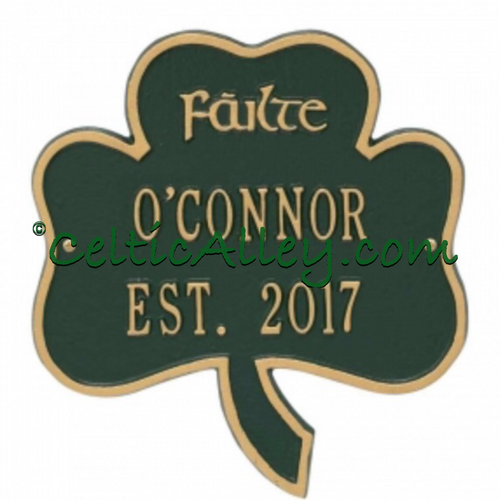 Failte Shamrock Address Plaque Customized