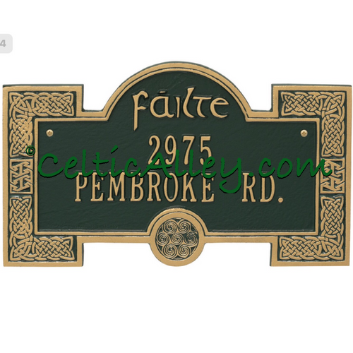 Failte (Welcome) Spirals and Celtic Knot Address Plaque Customized