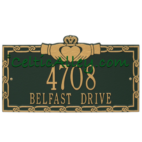 Celtic Claddagh Standard Address Plaque Customized