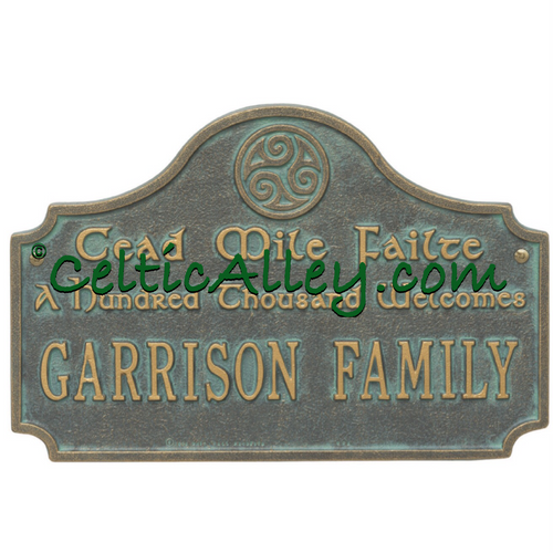Cead Mile Failte (A Hundred Thousand Welcomes) & Spirals Address Plaque Customized