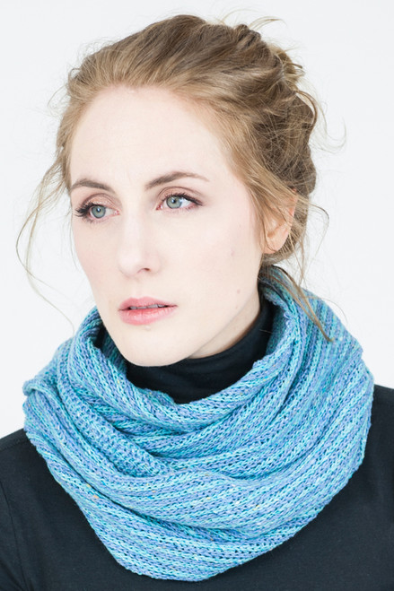 Infinity Scarf Orkney Snood Made by Bill Baber Knitwear in the Color Ocean Blue in Merino Wool