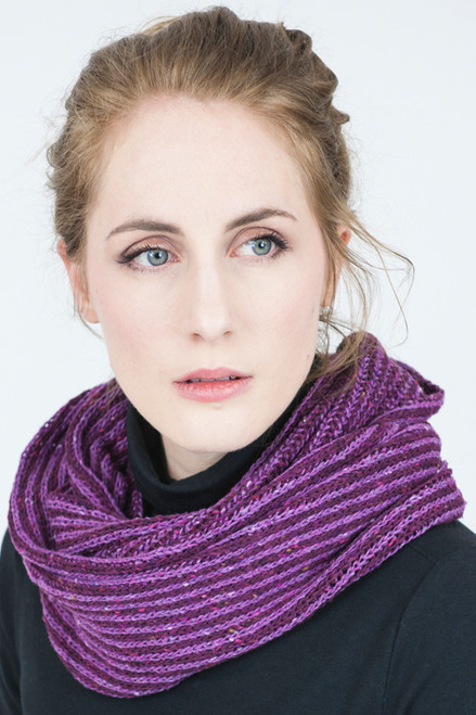 Infinity Scarf Orkney Snood Made by Bill Baber Knitwear in the Color Rasberry Purples in Merino Wool
