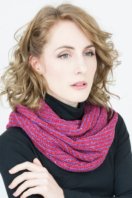 Infinity Scarf Orkney Snood Made by Bill Baber Knitwear in the Color Candy Pink, Red, and Purple
