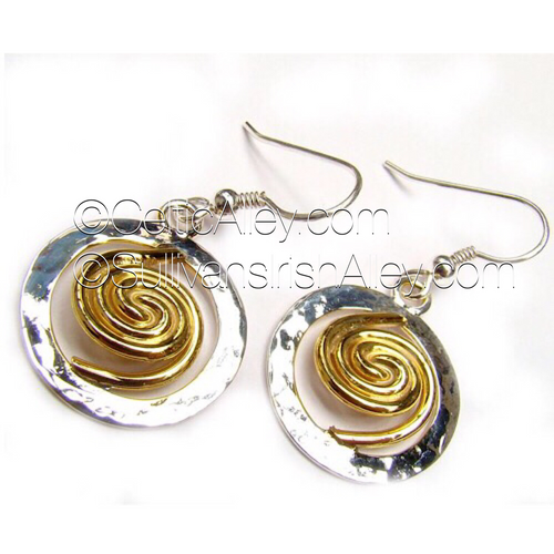 Spiral of Life Circle Earrings (22ct Gold Vermeil Spiral) By Barry Doyle Design Dublin