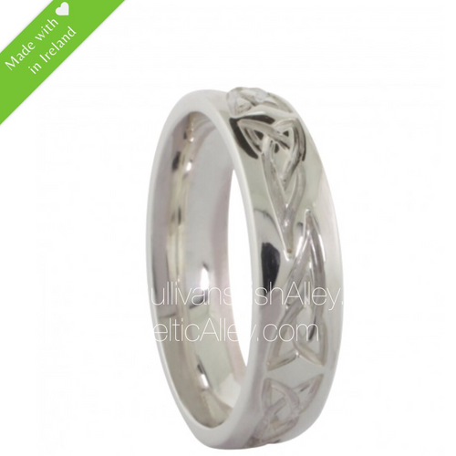 Men's Band Ring with Celtic Knot Etching In Sterling Silver
