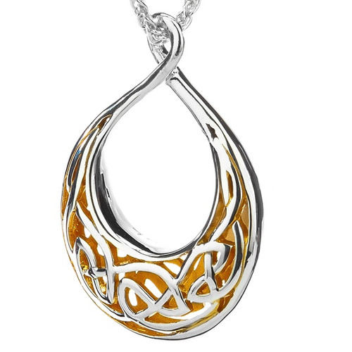 WINDOW TO THE SOUL TEARDROP PENDANT SMALL Sterling In Silver and 22k Yellow Gold Gilding  By Keith Jack PPX3381