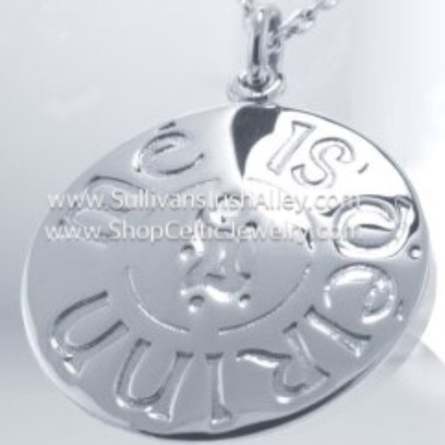 I Am of Ireland Disc Pendant in Sterling Silver HTF