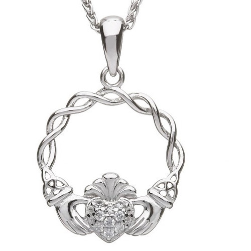 "Claddagh Pave CZ Pendant on 18"" Spiga Chain In Sterling Silver by BORU (BP38)"