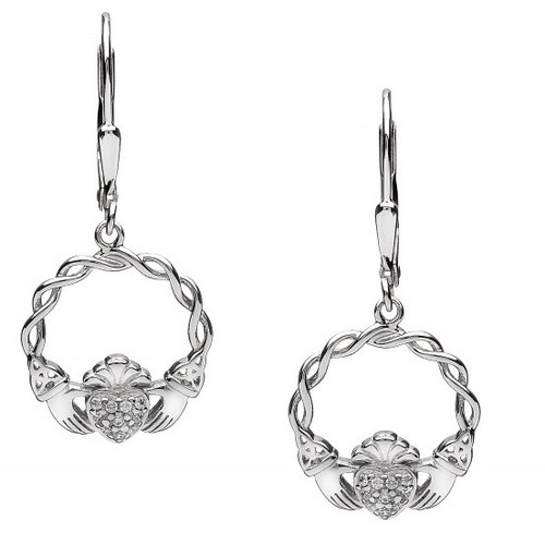 Edit a Product - Claddagh Pave CZ Earrings - Drop Fittings In Sterling Silver by BORU (BE38-D)