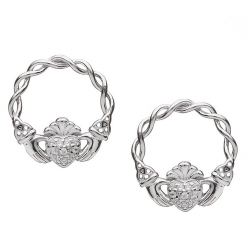 Claddagh Pave CZ Earrings - Stud Fittings In Sterling Silver by BORU (BE38-S)