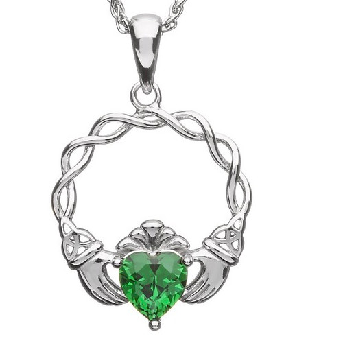 "Claddagh Green CZ Pendant on 18"" Spiga In Sterling Silver by BORU (BP39)"
