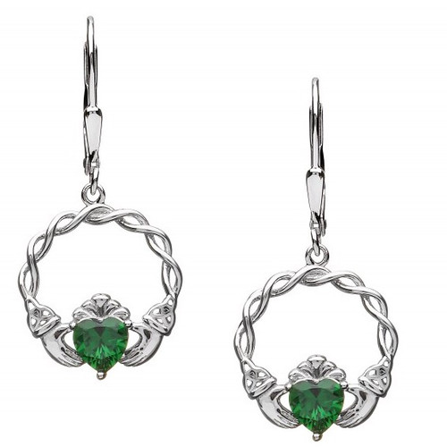 Claddagh Green CZ Earrings - Drop Fittings In Sterling Silver by BORU (BE39-D)