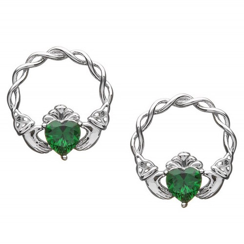 Claddagh Green CZ Earrings - Stud Fittings In Sterling Silver by BORU (BE39-S)