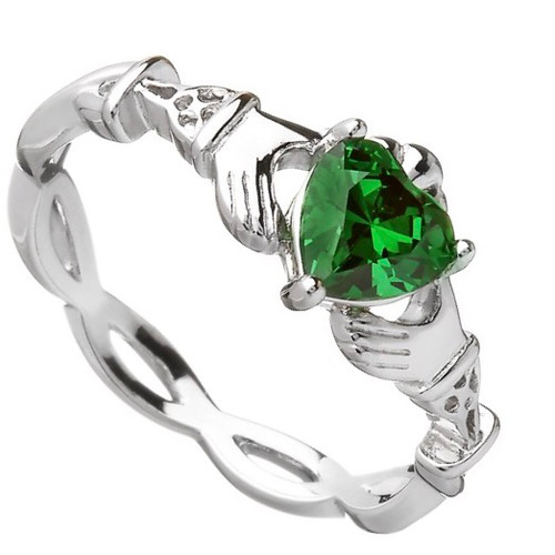 Claddagh Green CZ Ring In Sterling Silver by BORU (BCLAD39)