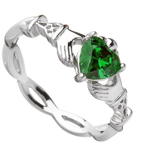 Claddagh Green CZ Ring In Sterling Silver by BORU (BCLAD39)