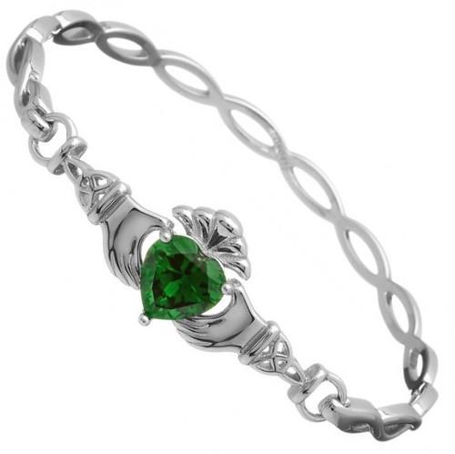 Claddagh Green CZ Bangle - Medium In Sterling Silver by BORU (BB39-M