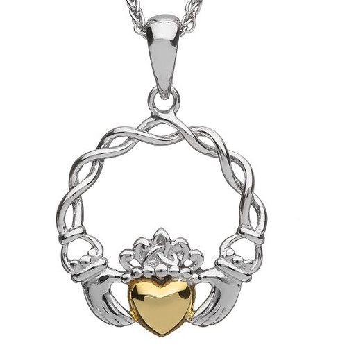 Sterling Silver Claddagh Pendant with 10K Gold Solid Heart In Sterling Silver by BORU (BP40)