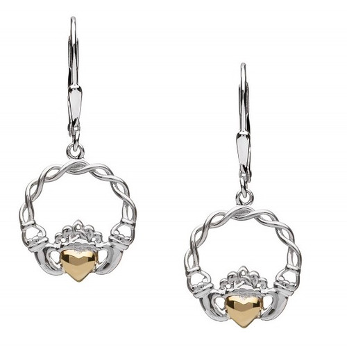 Sterling Silver Claddagh Earrings with 10K Gold Solid Heart - Drop In Sterling Silver by BORU (BE40-D)