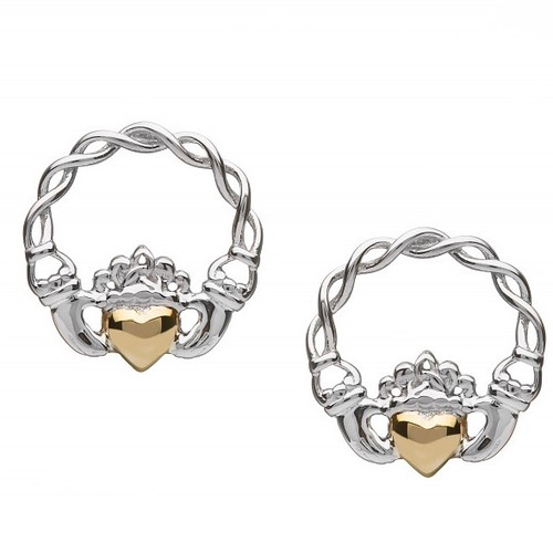 Claddagh Earrings with 10K Gold Solid Heart - Stud In Sterling Silver by BORU (BE40-S)