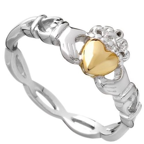 Sterling Silver Claddagh Ring with 10K Gold Solid Heart In Sterling Silver by BORU (BCLAD40)