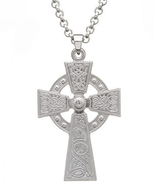 Celtic Warrior Shield Cross - Large Version In Sterling Silver by BORU