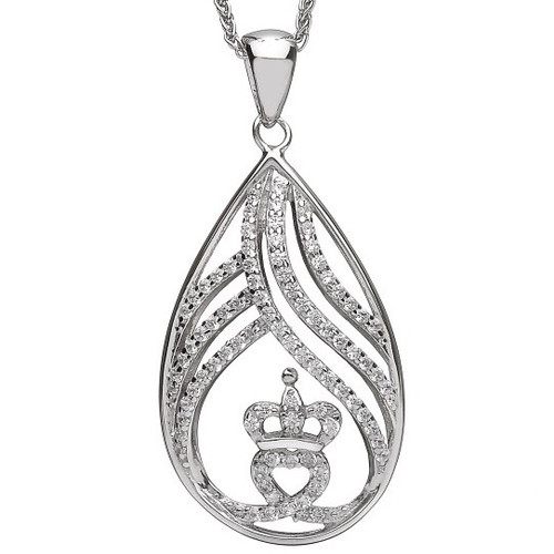 Teardrop Claddagh CZ Pendant - Small In Sterling Silver by BORU (BP41) (