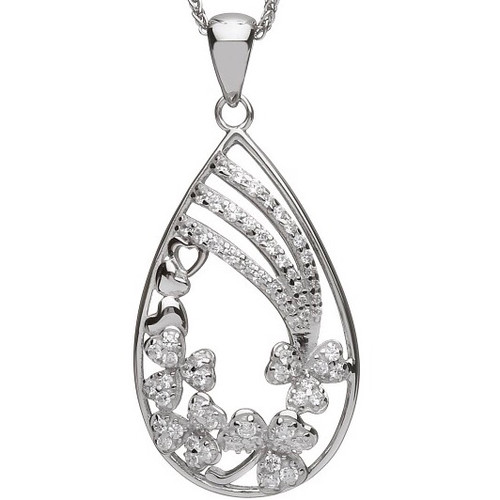 Teardrop Fallen Shamrock CZ Pendant - Small In Sterling Silver by BORU (BP43)