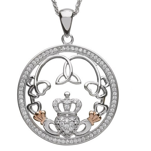 Claddagh & Trinity CZ Pendant with Rose Gold Cuffs In Sterling Silver by BORU (BP45)