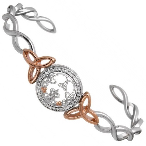 Claddagh & Trinity CZ Cuff Bangle with Rose Gold Plated Shoulders In Sterling Silver by BORU