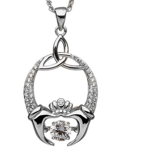 Damhsa Trinity & Claddagh CZ Pendant In Sterling Silver by BORU (DSP001)