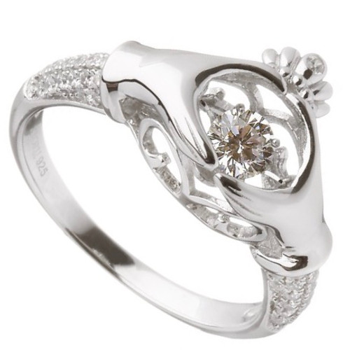 Product - Damhsa Trinity & Claddagh CZ Ring In Sterling Silver by BORU (DSR001