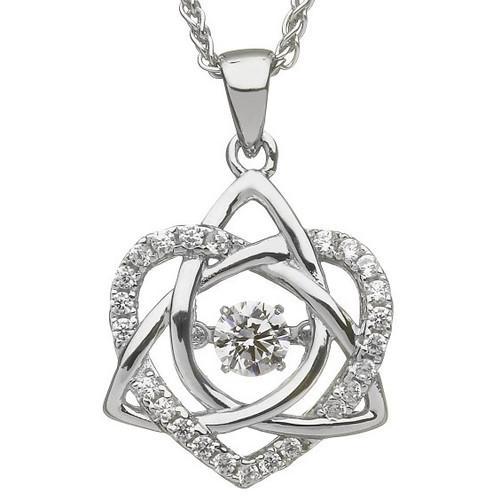 Damhsa Trinity & Heart CZ Pendant In Sterling Silver by BORU (DSP002)