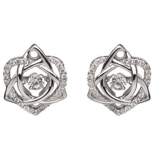 Damhsa Trinity & Heart CZ Earring In Sterling Silver by BORU
