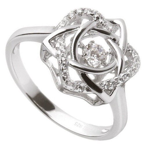 Damhsa Trinity & Heart CZ Ring In Sterling Silver by BORU (DSR002)