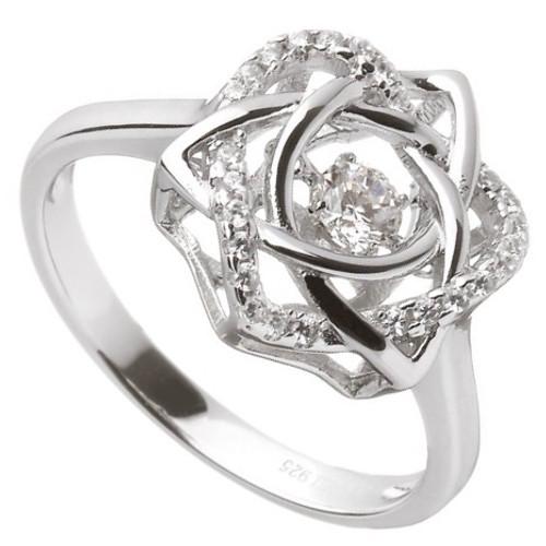 Damhsa Trinity & Heart CZ Ring In Sterling Silver by BORU (DSR002)