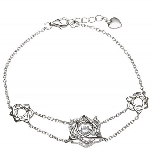 Damhsa Trinity & Heart CZ Bangle In Sterling Silver by BORU (DSB002)