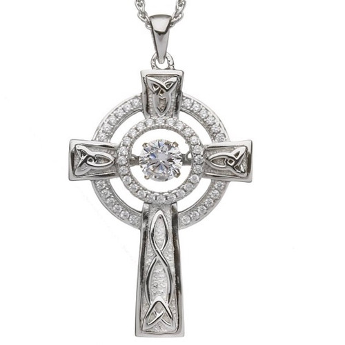 Damhsa Double Circle Cross with Dancing CZ In Sterling Silver by BORU