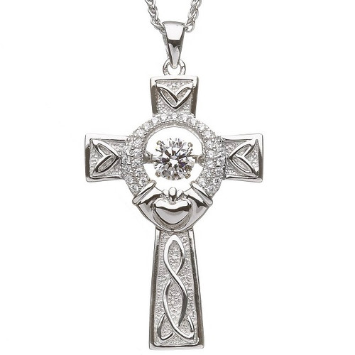 Damhsa Claddagh Cross with Dancing CZ In Sterling Silver by BORU
