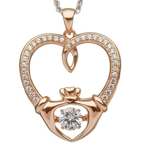 Damhsa Rose Gold Plate Claddagh Dancing CZ Pendant In Sterling Silver by BORU