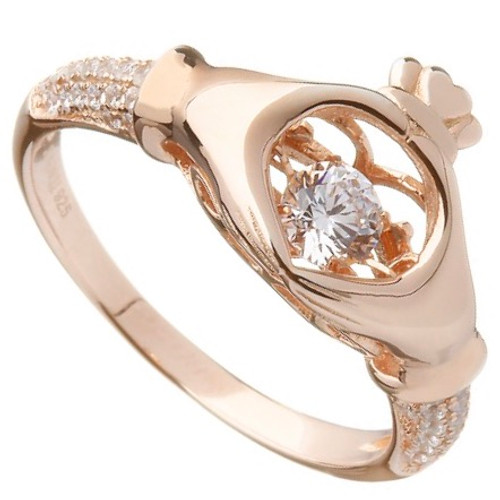 Damhsa Rose Gold Plate Claddagh Dancing CZ Ring In by BORU