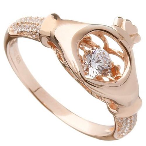 Damhsa Rose Gold Plate Claddagh Dancing CZ Ring In by BORU
