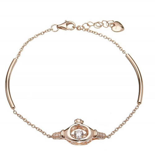 Damhsa Rose Gold Plate Claddagh Dancing CZ Bracelet In Sterling Silver by BORU