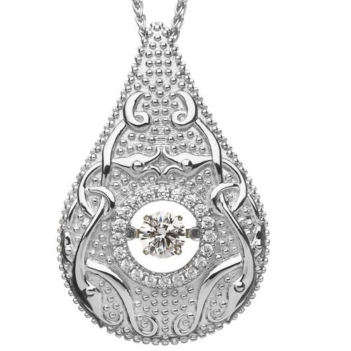 Damhsa Woodquay Pendant with Dancing CZ In Sterling Silver by BORU