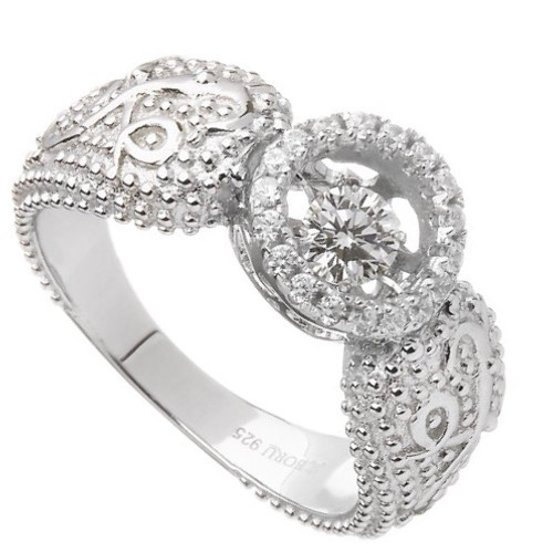 Damhsa Woodquay Ring with Dancing CZ In Sterling Silver by BORU